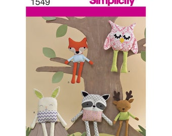 Simplicity 1549 Singer Sewing Pattern Stuffed Doll and Animals, Owl Cat and Rag Doll Paper Patterns - Chenille and Cotton Fabric Patterns
