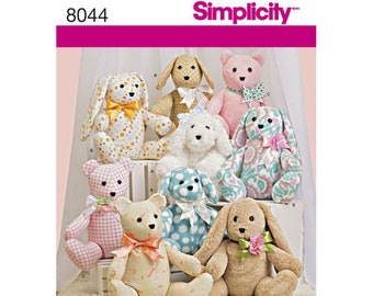 Simplicity Pattern 8044 Two-Pattern Piece Stuffed Animals, Paper Pattern for Bears, Dogs and Rabbits