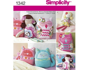 Simplicity 1342 Singer Sewing Pattern Stuffed Doll and Animals, Owl Cat and Rag Doll Paper Patterns - Chenille and Cotton Fabric Patterns