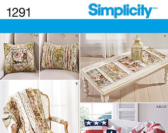 Simplicity Pattern 1291 Rag Quilted Throws, Pillows and Bench and Table Runners, Patriotic Star Pattern