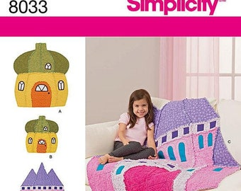 DIY Girls Rag Quilt Pattern, Simplicity Pattern 8033 Rag Quilts and Matching Doll Rag Quilts Sewing Pattern, Castle and Acorn Hut Pattern