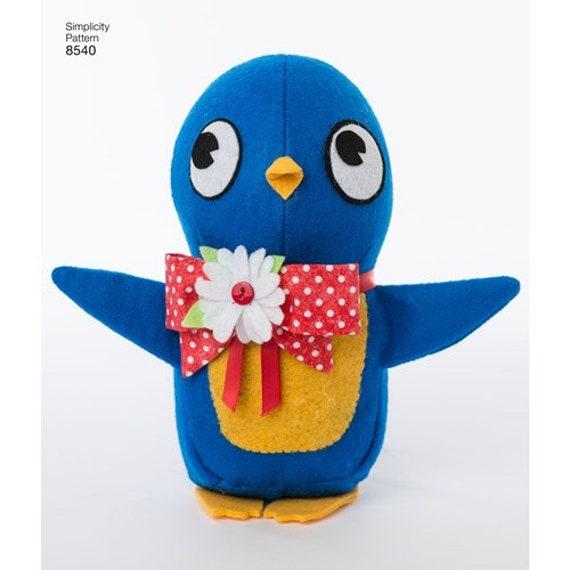 Simplicity SEWING PATTERN 8540 Felt Soft Toys Inc Ladybird,Penguin,Bee,Robin