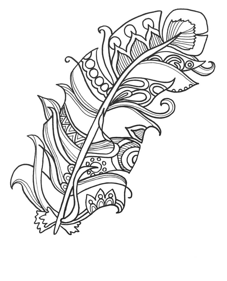 10 Fun and Funky Feather ColoringPages Original Art Coloring image 0