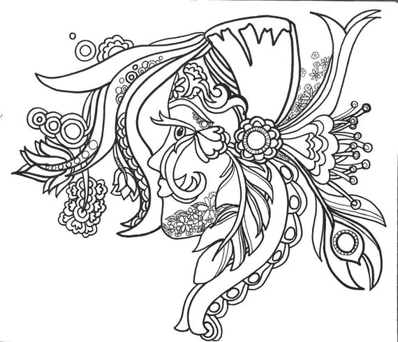 15 ColoringPages FunFancyFunkyFaces Vol.1 Original Art Etsy