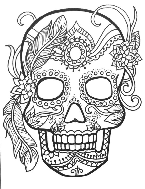 10 Sugar Skull Day Of The Dead ColoringPages Original Art Etsy