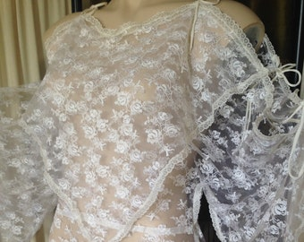 Fata Morgana beautiful snow white fine lace top blouse 8 10 vintage Adelaide