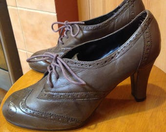Laura Ashley leather shoes oxford brown smart work 38 insole 24 cm / 9.5 ins