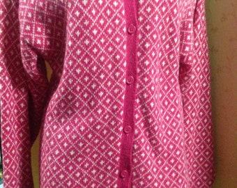 Laura Ashley vintage wool cardigan sweater jumper pink Fleur de Lys Scotland L