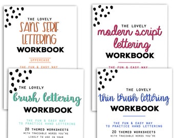 BUNDLE of 4 Lettering Workbooks with 150 Hand Lettering Practice Worksheets - Brush/Script -for Procreate & Print, Modern Calligraphy, Ipad
