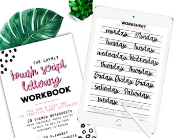 40 Practice Worksheets Brush Script Lettering for Procreate & Print, Calligraphy, Hand Lettering, IPad Lettering -For beginners,planners...