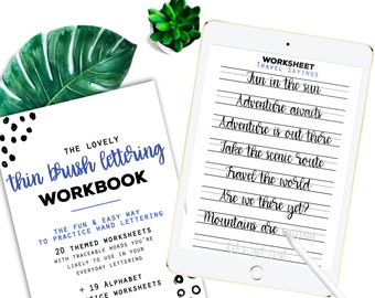 40 Practice Worksheets Thin Brush Lettering for Procreate & Print, Calligraphy, Hand Lettering, IPad Lettering -For beginners,planners...