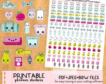 Kawaii Diet Fitness Workout Scale Stickers set - Printable Planner stickers, Print&Cut stickers for Happy Planner, Filofax, Erin Condren...