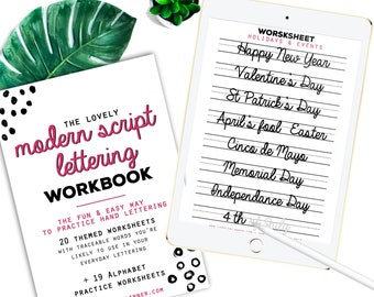 40 Practice Worksheets Modern Script Lettering for Procreate & Print, Calligraphy, Hand Lettering, IPad Lettering -For beginners,planners...