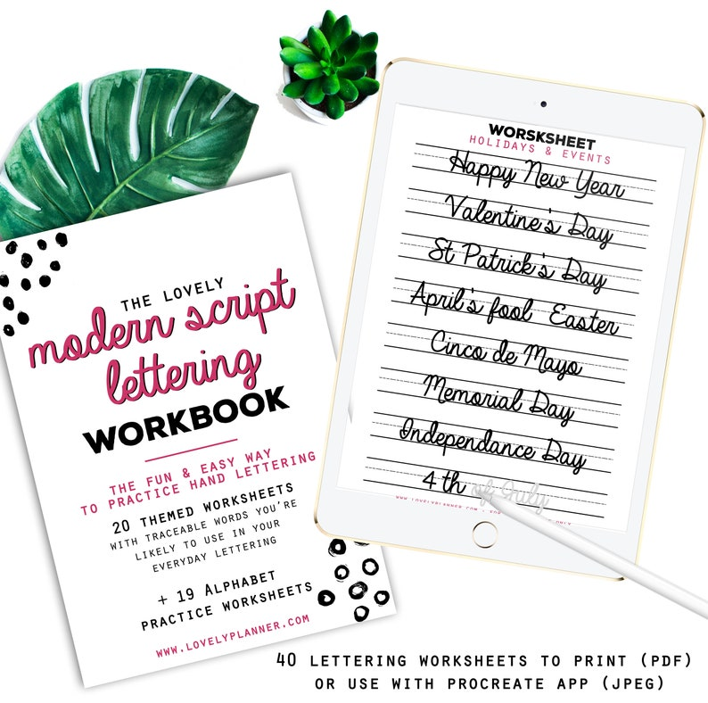 40 Practice Worksheets Modern Script Lettering for Procreate & Print,  Calligraphy, Hand Lettering, IPad Lettering -For beginners,planners