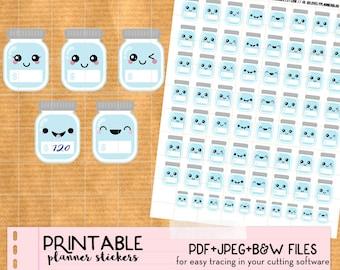 Kawaii Savings jar, Savings tracker, Budget Stickers set -Printable Planner stickers, Print&Cut stickers for Happy Planner, Filofax, ECLP...