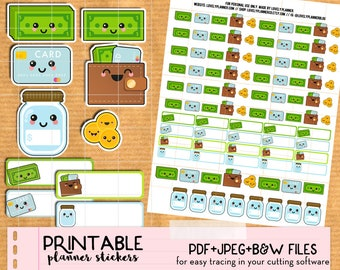 Kawaii Money stickers set: dollar, wallet, savings, expenses, pay -Printable Planner stickers, Print & Cut for Happy Planner, Filofax, ECLP