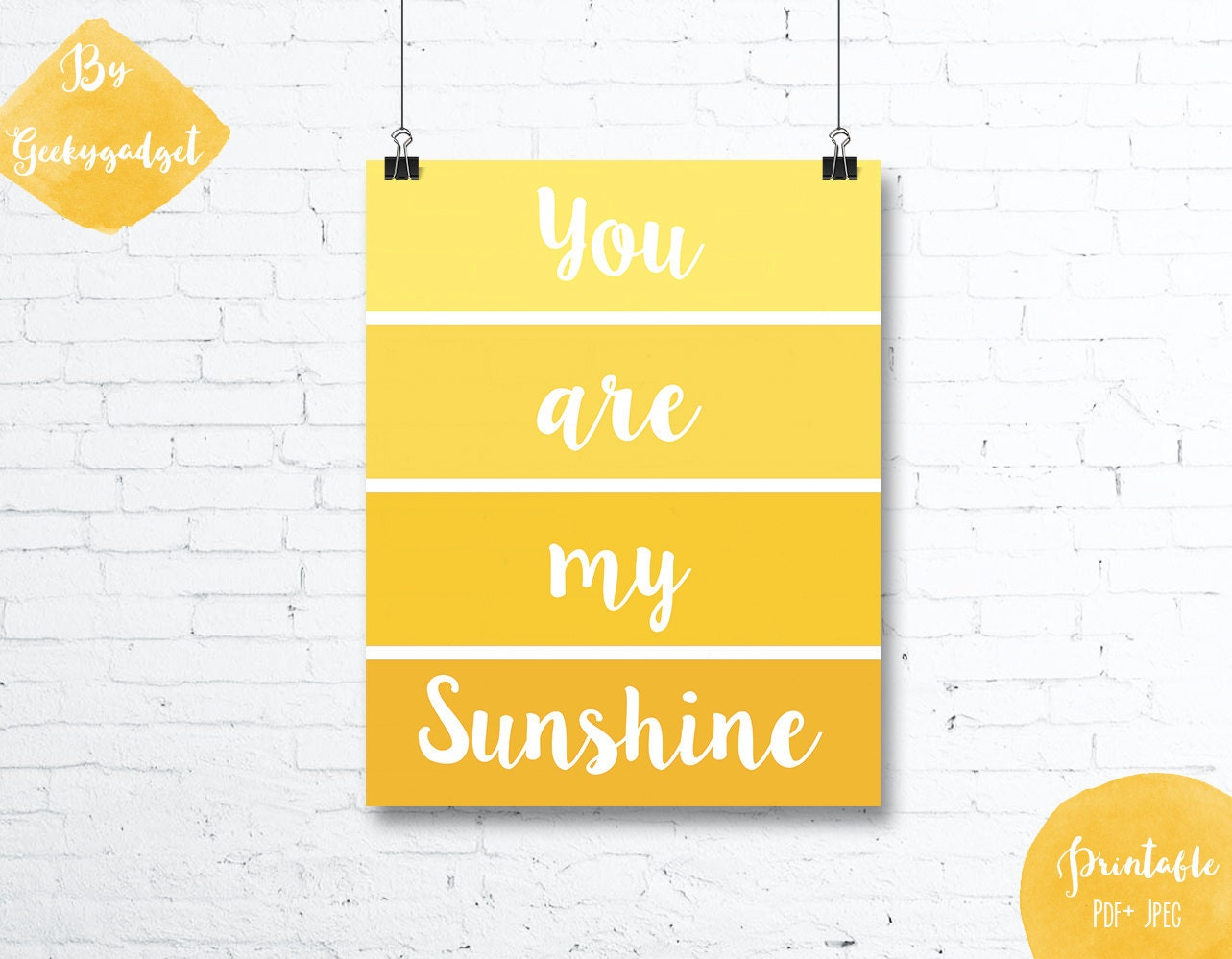 You are my sunshine paint chip yellow nursery poster quote | Etsy