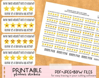 Etsy Shipping Review Stickers to add on your orders envelopes - Cute Printable stickers, DIY, print and cut, PDF instant download