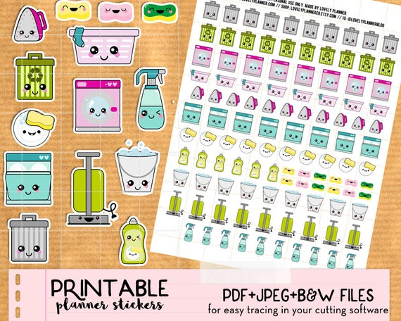 kawaii cleaning home chores stickers set printable planner