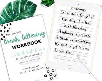 40 Practice Worksheets Brush Lettering for Procreate & Print, Modern Calligraphy, Hand Lettering, IPad - For beginners, planners, crafters