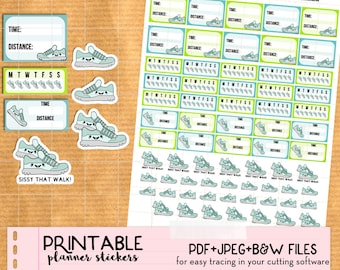 Kawaii Walk, Run, Steps, Workout Stickers set - Printable Planner stickers, Print&Cut stickers for Happy Planner, Filofax, Erin Condren...