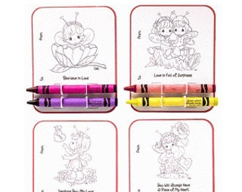 Precious Moments Colouring Cards , Kids , Party , Loot Bags , Crayons , Activity , Birthday