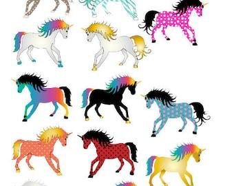 Unicorn Stickers 13 pieces , Journaling , Calendar , Kids , Rainbow
