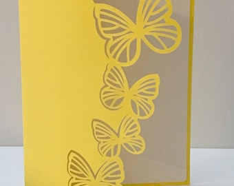 Butterfly Love , Blank Card , Papercut , Yellow , Peaceful , Beautiful , Delicate , Family , Friends