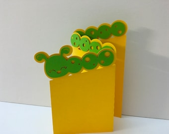 Caterpillar Accordion Card , Blank inside , Papercut , Kids , Preschool , Nature , Yellow , Green , Pop Dot