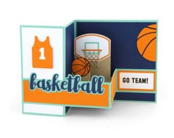 Basketball Pop Up Card ,  Sports , Team , Players , Slam Dunk , Kids , Teens , Adults , Game , Hoop , Dribbling , Dunking , Shot-blocking