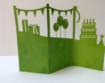 Happy Birthday Accordion Card , Blank inside , Reversible , Balloons , Cake , Candles , Papercut