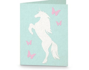 Unicorn with Butterflies Blank Card  , Horse , Fantasy , Magical , Mystic , Horn , Personalize