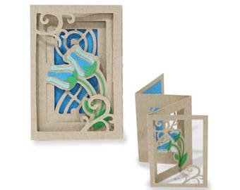 3D Fold out Accordion Card , Flowers , Blue , Friends , Family , All Occasions , Free Shipping , Blank inside