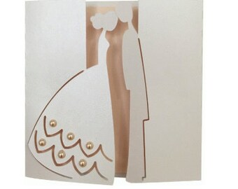 Spouses Wedding card  , Blank Card , Papercut , Bride , Groom , Marriage