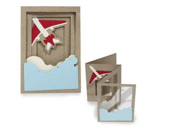 3D Fold out Airplane Accordion Card , Fly , Travel , Vacation , Clouds , Safe Travels , Farewell , Welcome Back