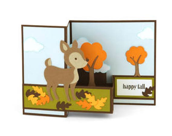Pop Up Happy Fall Deer Card Trees Leaves Gift 3d Etsy