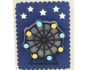 Moveable Farris Wheel Card , Blank inside , Stars , Adults , Kids , Teens , PaperCut , Fair