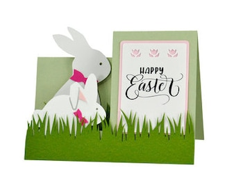 Happy Easter 3D Card , Papercut , Bunny , Holiday , Kids , Bow tie , Grass , Spring , Hop
