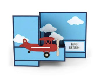 Happy Birthday Airplane Pop up Card , Sky , Clouds , Blue , Red , Kids , Teens , Adults , Pilot , Flying