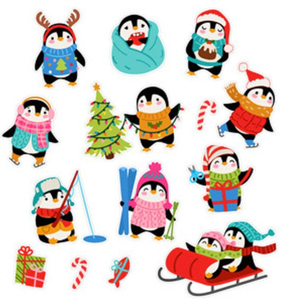 Glitter Snowmen Stickers Papercraft Planner Journal Holiday Craft Cards Winter