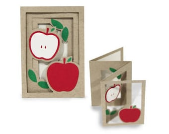 3D Fold out Apple Accordion Card , Friends , Family , Blank inside , Teachers , All Occasions