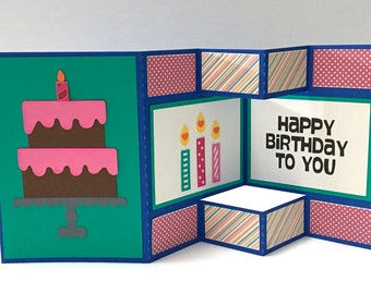 Happy Birthday Shutter Card , Papercut , Cake , Candles , Kids , Teens , Adults