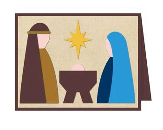 Christmas Clip Art North Star.Nativity Card Blank Inside North Star Baby Christmas Holiday December New Years Papercut