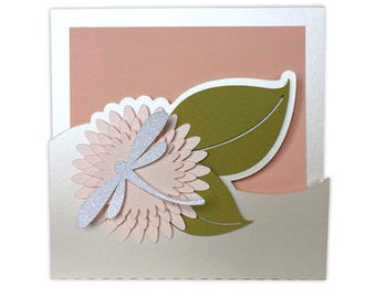 Flower and Dragonfly Card , Blank Card , Papercut , Glitter , Sparkle , Nature