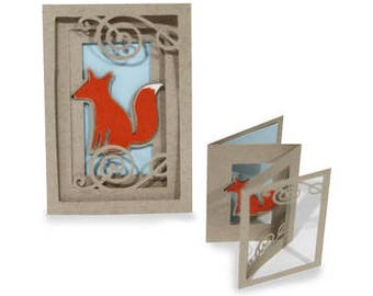 3D Fold out Fox Accordion Card  , Friends , Family , Blank inside , Fall , PaperCut , Animal