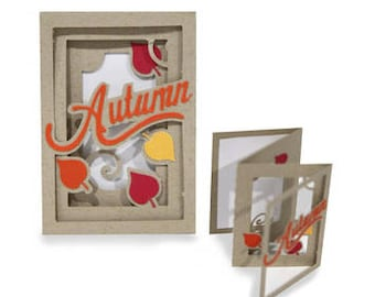 3D Fold out Autumn Accordion Card , Leaves , Friends , Family , Blank inside , Fall , PaperCut