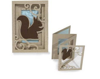 3D Fold out Squirrel Accordion Card , Outdoors , Friends , Family , Kids , wildlife , PaperCut