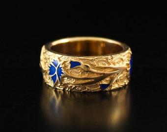 Gold enamel ring cornflower enamel gold plated ring flower ornament band gold wedding ring enamel band estonian jewelry estonia jewelry gold