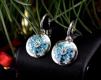 Silver Snowflake Earrings with Enamel and Topazes Snowflake enameled earrings cloisonne winter jewelry estonia silver gem earrings topazes