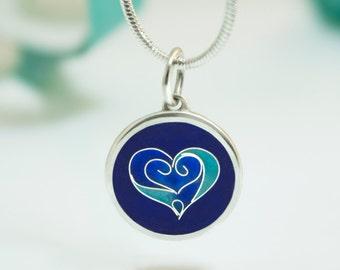 Cloisonne Enamel Pendant Heart Silver charm  Enamel love necklace HEART Valentine's day gift charm enamel Blue jewelry anklet wrist pendant